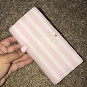 Pink and white Kate spade wallet